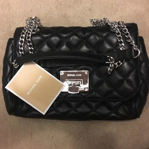 Michael Kors Black and Silver Quilted Purse